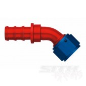 AQP 45 Degree Socketless Hose Fitting; Red/Blue Anodized Aluminum (multi-size)
