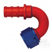 AQP 150 Degree Socketless Hose Fitting; Red/Blue Anodized Aluminum (multi-size)
