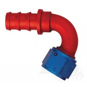 AQP 120 Degree Socketless Hose Fitting; Red/Blue Anodized Aluminum (multi-size)