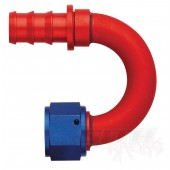 AQP 180 Degree Socketless Hose Fitting; Red/Blue Anodized Aluminum (multi-size)